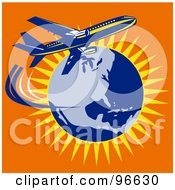 Royalty Free RF Clipart Illustration Of A Commercial Airplane In Flight 20