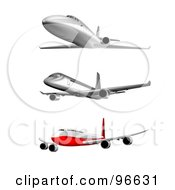 Royalty Free RF Clipart Illustration Of A Digital Collage Of Three Commercial Airplanes And Jets