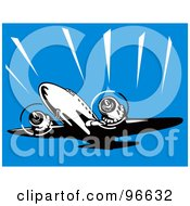 Royalty Free RF Clipart Illustration Of A Commercial Airplane In Flight 21 by patrimonio