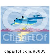 Royalty Free RF Clipart Illustration Of A Commercial Airplane In Flight 22