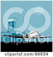 Royalty Free RF Clipart Illustration Of A Commercial Airplane Rolling On The Tarmac