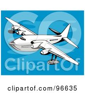 Royalty Free RF Clipart Illustration Of A Commercial Airplane In Flight 23