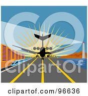 Royalty Free RF Clipart Illustration Of A Commercial Airplane Landing On The Tarmac