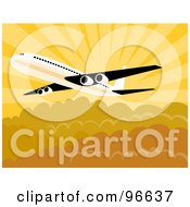 Royalty Free RF Clipart Illustration Of A Commercial Airplane In Flight 24