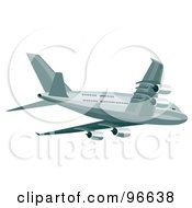Royalty Free RF Clipart Illustration Of A Commercial Airplane In Flight 25