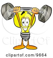 Clipart Picture Of A Light Bulb Mascot Cartoon Character Holding A Heavy Barbell Above His Head