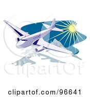 Royalty Free RF Clipart Illustration Of A Commercial Airplane In Flight 28