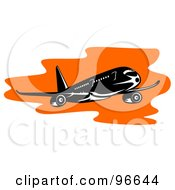 Royalty Free RF Clipart Illustration Of A Commercial Airplane In Flight 31