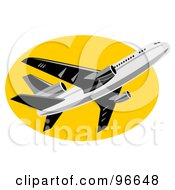 Royalty Free RF Clipart Illustration Of A Commercial Airplane In Flight 35
