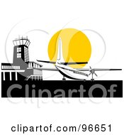 Royalty Free RF Clipart Illustration Of A Commercial Airplane Against The Yellow Sun At The Airport