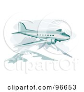Royalty Free RF Clipart Illustration Of A Commercial Airplane In Flight 39