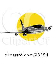 Royalty Free RF Clipart Illustration Of A Commercial Airplane In Flight 40