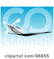Royalty Free RF Clipart Illustration Of A Fighter Mustang Plane In A Blue Sky