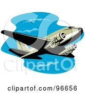 Royalty Free RF Clipart Illustration Of A Commercial Airplane In Flight 41