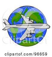 Royalty Free RF Clipart Illustration Of A Commercial Airplane In Flight 44