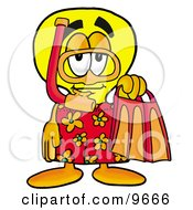 Clipart Picture Of A Light Bulb Mascot Cartoon Character In Orange And Red Snorkel Gear