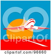 Royalty Free RF Clipart Illustration Of A Commercial Airplane Departing For Flight At Sun Down by patrimonio