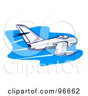 Royalty Free RF Clipart Illustration Of A Fast Airplane Flying Over Blue