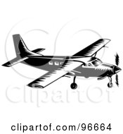Black And White Small Airplane From The Side
