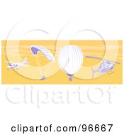 Royalty Free RF Clipart Illustration Of A Small Airplane Parachuter Hot Air Balloon And Helicopter In An Orange Sky by patrimonio