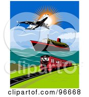 Royalty Free RF Clipart Illustration Of A Commercial Airliner Over A Ship And Train by patrimonio