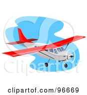 Royalty Free RF Clipart Illustration Of A Red And White Small Airplane Over Blue