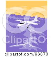 Royalty Free RF Clipart Illustration Of A White Airplane Flying Over A Mountain Range