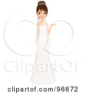 Royalty Free RF Clipart Illustration Of A Beautiful Brunette Bride In Her Gown Presenting With One Hand by Melisende Vector