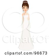 Royalty Free RF Clipart Illustration Of A Beautiful Brunette Bride In Her Gown Presenting Her Wedding Ring