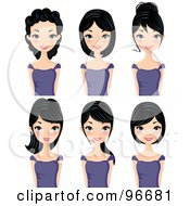 Royalty Free RF Clipart Illustration Of A Digital Collage Of A Black Haired Woman Sporting Different Hair Styles by Melisende Vector