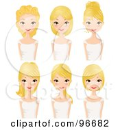 Royalty Free RF Clipart Illustration Of A Digital Collage Of A Blond Woman Sporting Different Hair Styles by Melisende Vector