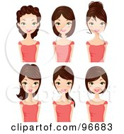Royalty Free RF Clipart Illustration Of A Digital Collage Of A Brunette Woman Sporting Different Hair Styles by Melisende Vector