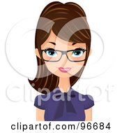 Pretty Brunette Receptionist Wearing Glasses And A Purple Blouse