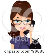 Pretty Receptionist Wearing Glasses And Holding A Black Phone