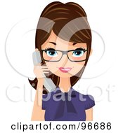 Pretty Brunette Receptionist Wearing Glasses And Holding A White Phone