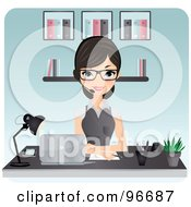 Royalty Free RF Clipart Illustration Of A Beautiful Secretary Pointing To A Blank Board Behind Her Desk by Melisende Vector #COLLC96687-0068