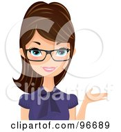 Royalty Free RF Clipart Illustration Of A Brunette Receptionist In A Purple Blouse And Glasses Presenting With One Hand by Melisende Vector #COLLC96689-0068