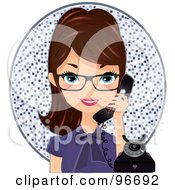 Royalty Free RF Clipart Illustration Of A Pretty Brunette Receptionist Wearing Glasses And Talking On A Phone Over A Mosaic Circle by Melisende Vector