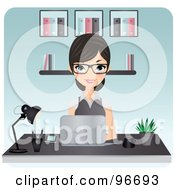 Royalty Free RF Clipart Illustration Of A Beautiful Secretary Typing On A Laptop At An Office Desk by Melisende Vector