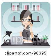 Royalty Free RF Clipart Illustration Of A Pretty Brunette Receptionist Wearing Glasses And Holding A White Phone by Melisende Vector