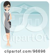 Royalty Free RF Clipart Illustration Of A Pretty Realtor Standing In The Driveway Of A Residential Home by Melisende Vector