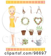 Blond Female Florist With Wreaths Pots Plants And Gardneing Tools