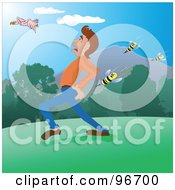 Royalty Free RF Clipart Illustration Of A Swarm Of Killer Bees Attacking A Running Man Outdoors