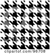 Royalty Free RF Clipart Illustration Of A Black And White Seamless Houndstooth Pattern Texture Background
