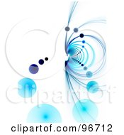 Royalty Free RF Clipart Illustration Of A Blue Vortex Of Fractal Rings And Orbs On White by Arena Creative #COLLC96712-0094