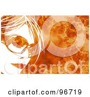 Royalty Free RF Clipart Illustration Of A White Womans Face Wearing Shades Over A Fiery Background