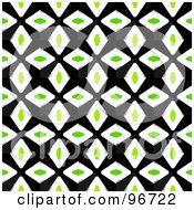 Royalty Free RF Clipart Illustration Of A Geometric Green White And Black Diamond Patterned Background