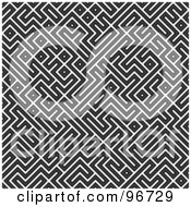 Royalty Free RF Clipart Illustration Of A Seamless Black And White Geometric Maze Background by Arena Creative