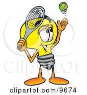 Clipart Picture Of A Light Bulb Mascot Cartoon Character Preparing To Hit A Tennis Ball