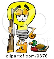 Clipart Picture Of A Light Bulb Mascot Cartoon Character Duck Hunting Standing With A Rifle And Duck by Toons4Biz